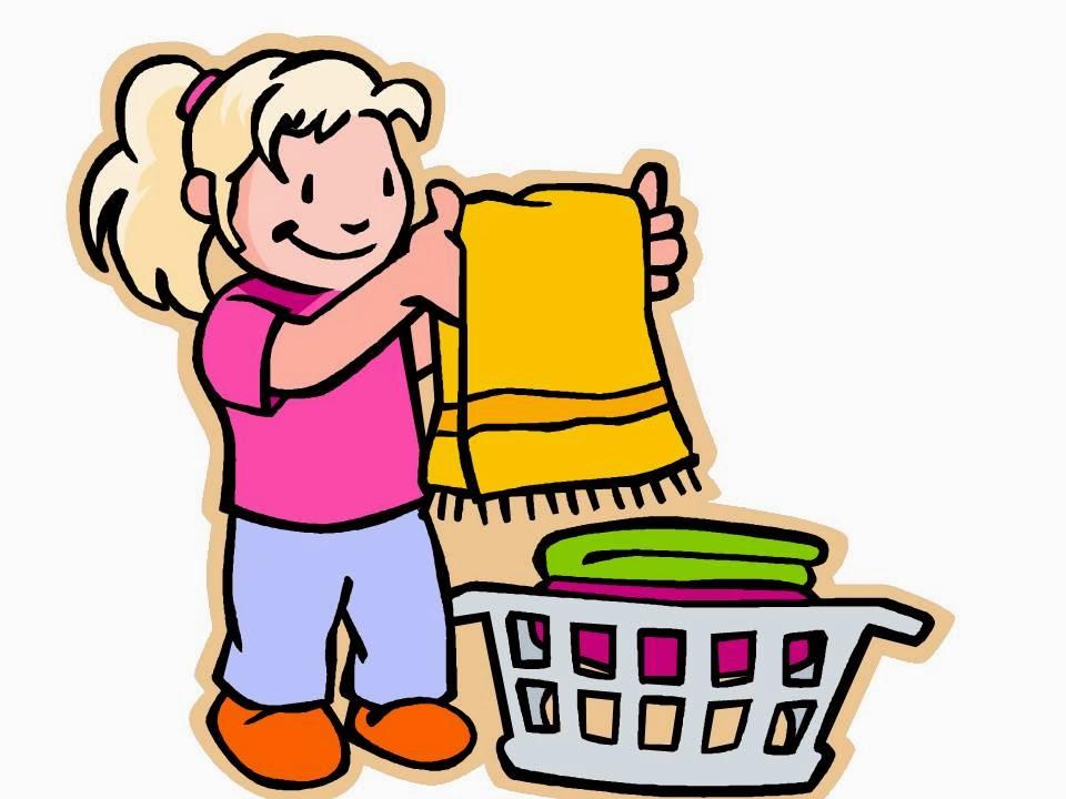 A girl folding laundry.
