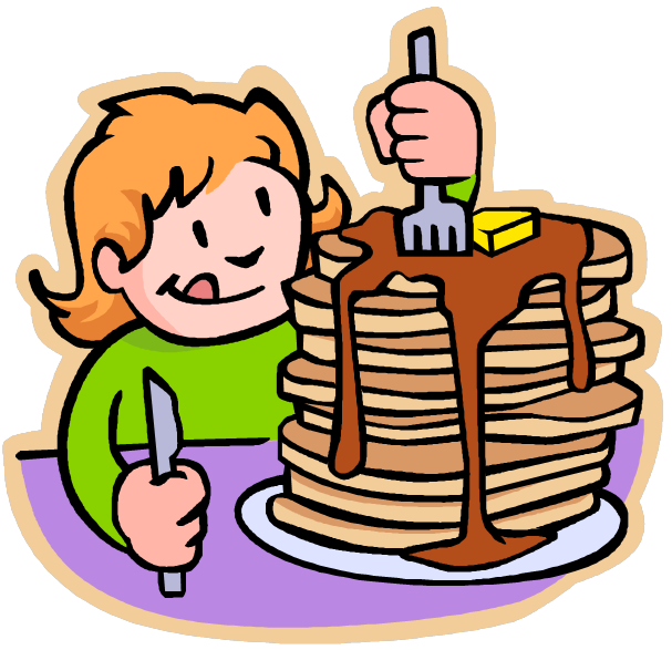 A girl eating a large of stack of pancakes.
