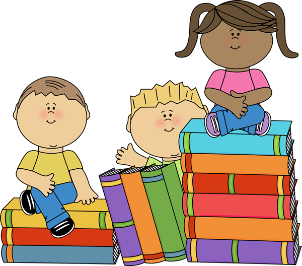 A group of kids sitting around stacks of books.