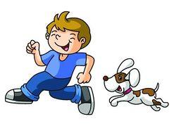 Dog chasing a boy
