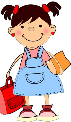Girl holding backpack walking clipart