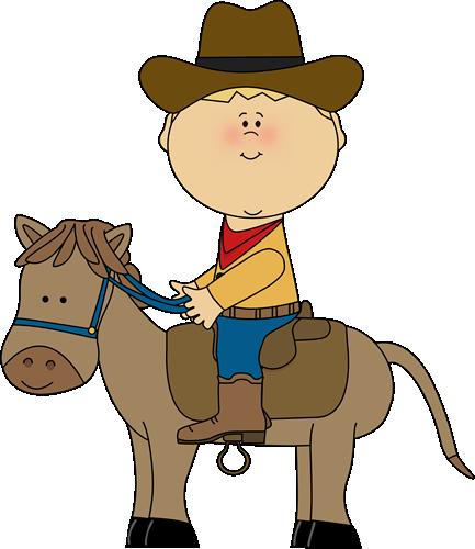 Cowboy riding a horse.