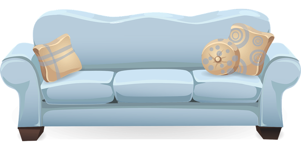 A blue sofa with beige pillows.