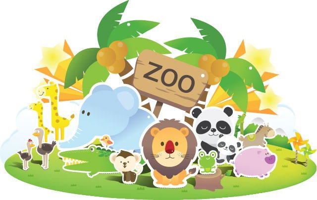 Animals at the zoo.
