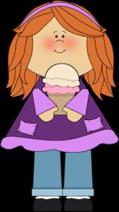 A girl holding an ice cream
