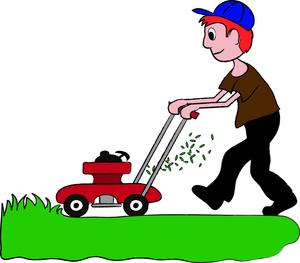 A boy cutting the grass