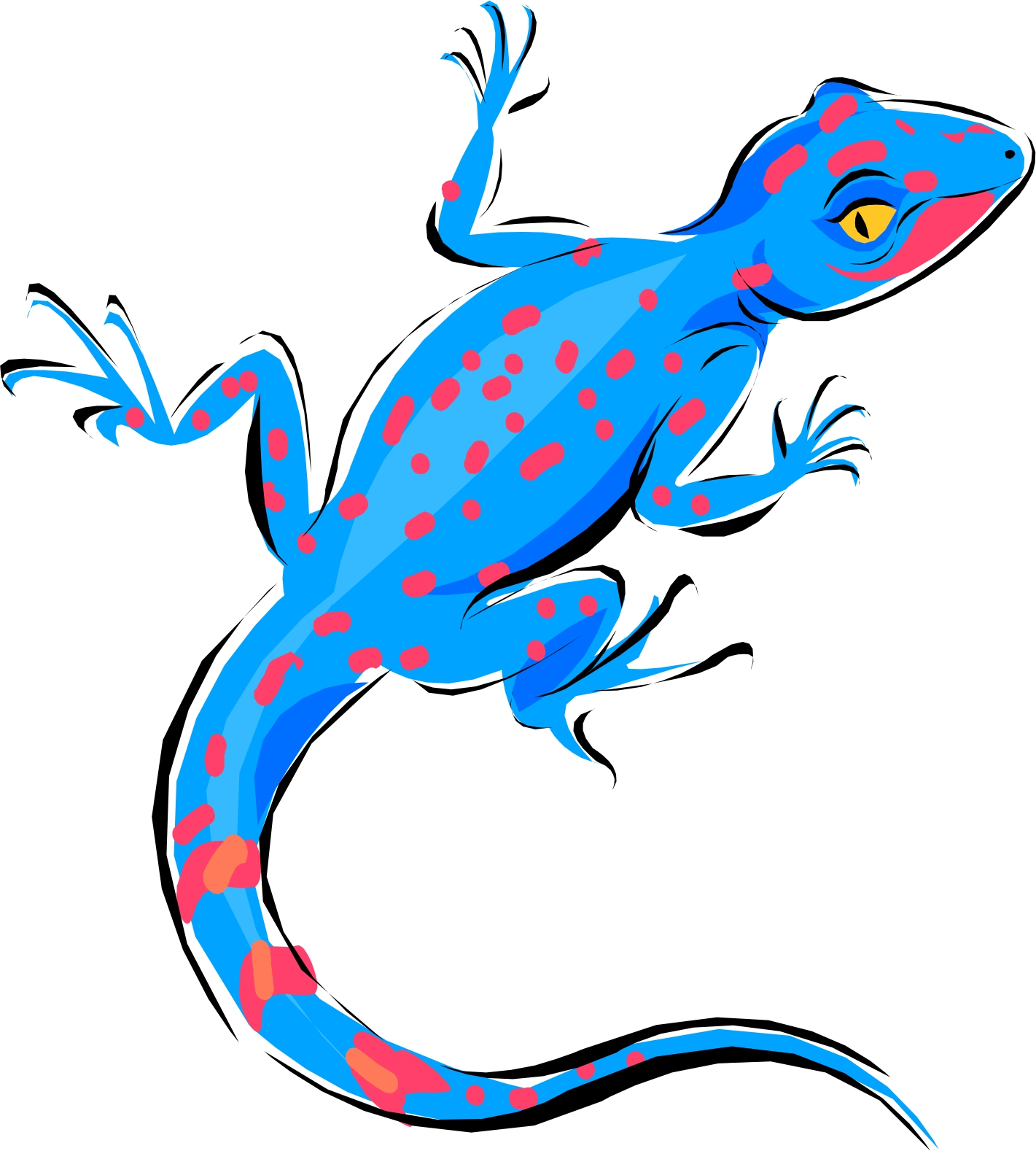 A blue and red lizard