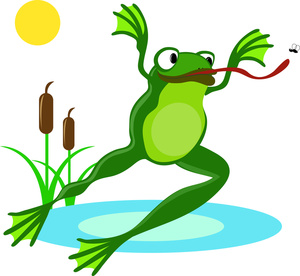 Frog jumping into the pond
