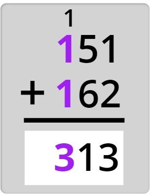 151 + 162 = 313