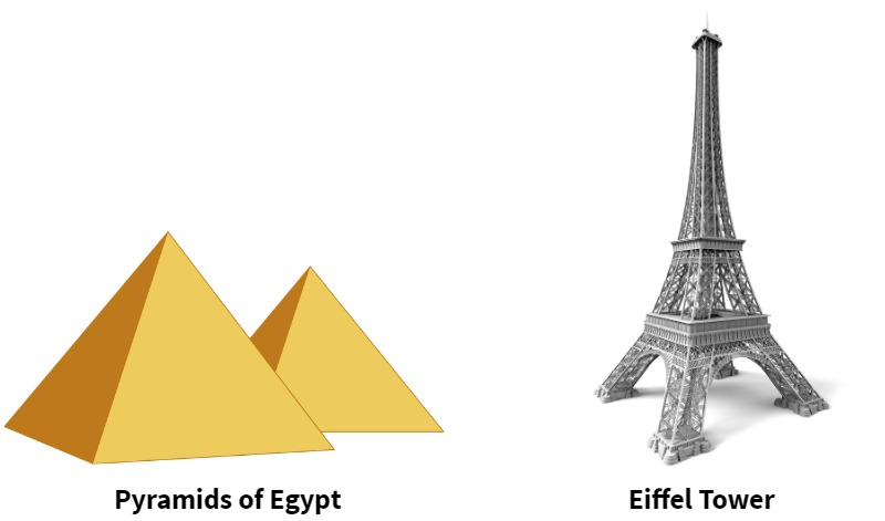 pyramids of Egypt and Eiffel Tower
