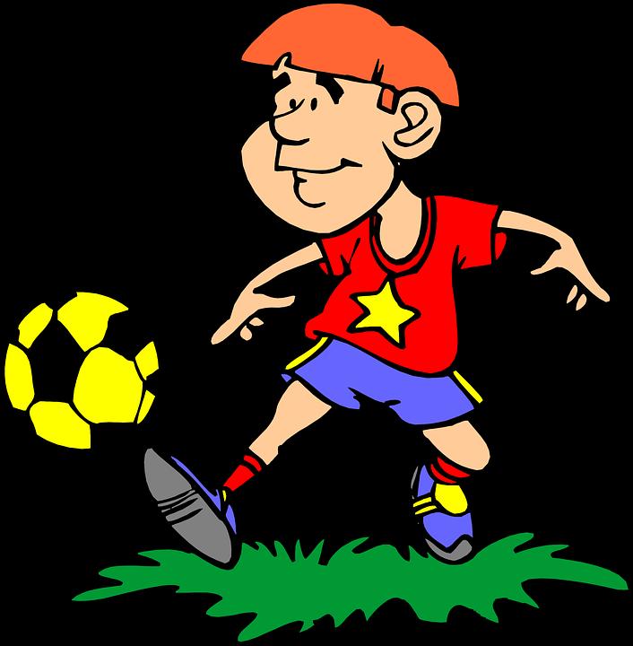 A boy playing soccer.