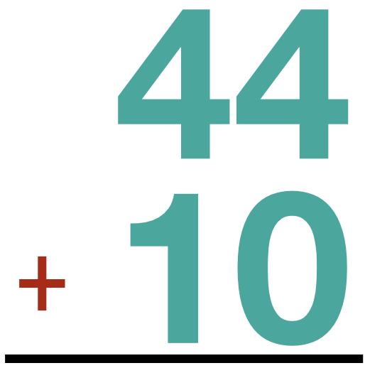 44 + 10