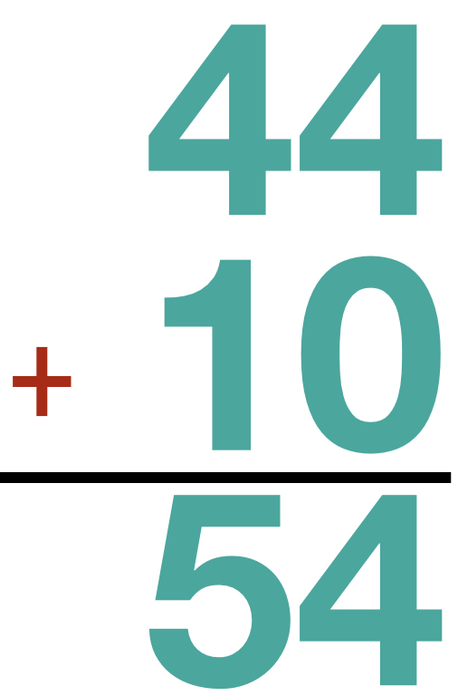 44 + 10 = 54