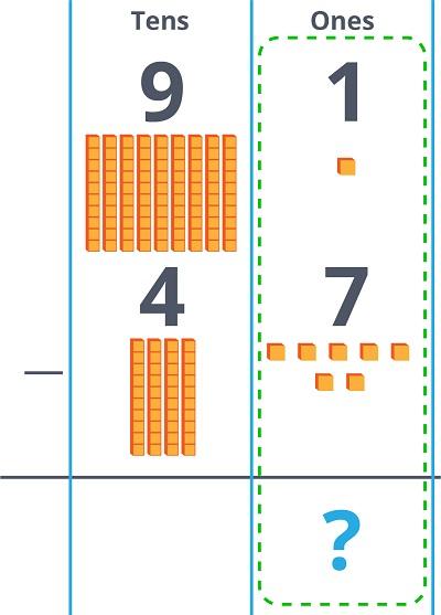 91 - 47 in column form
