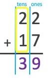22 + 17 = 39
