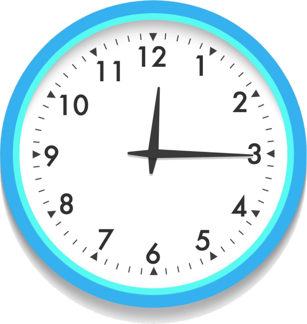 analog clock at 12:15