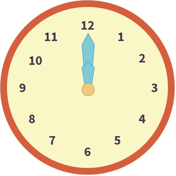 clock at 12 o'clock