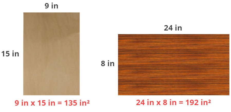 pieces of wood with their areas