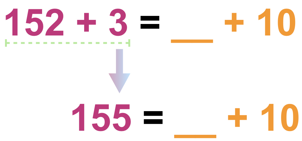 152 + 3 = _____ + 10