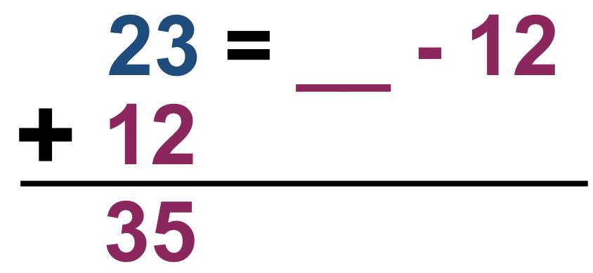 23 = ____ - 12
