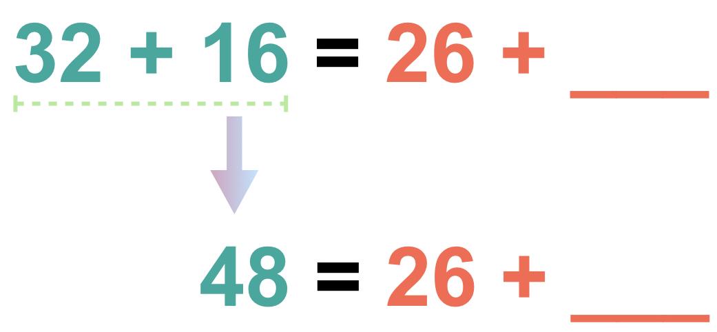 36 + 16 = 26 + ___