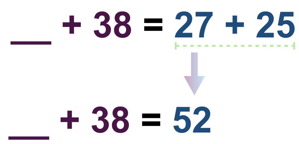 ___ + 38 = 27 + 25