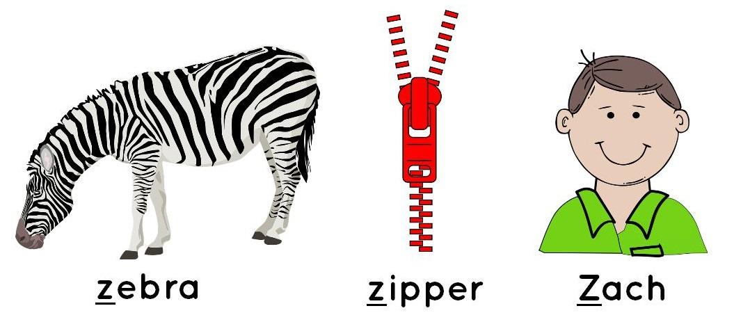 zebra, zipper, Zach