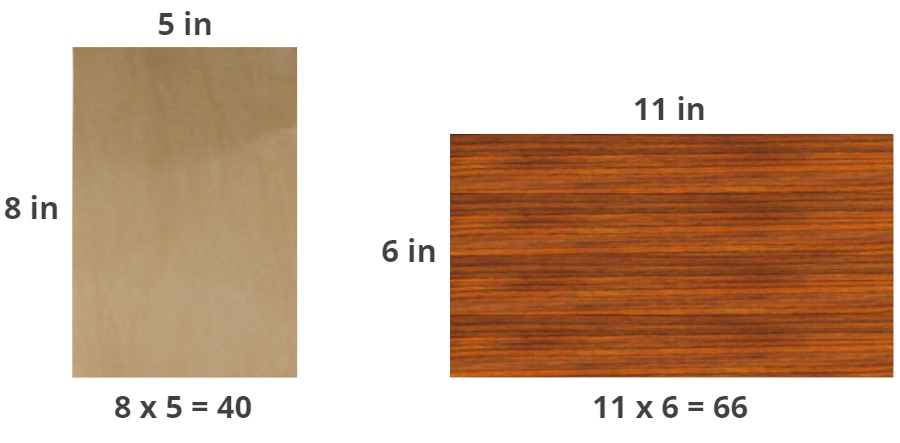 area of pieces of wood