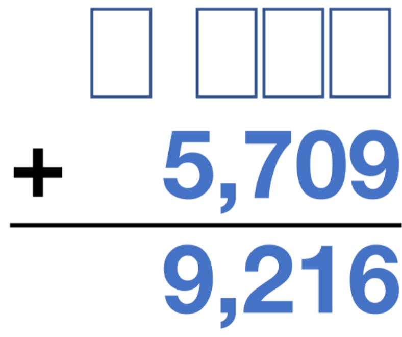 _____ + 5,709 = 9,216