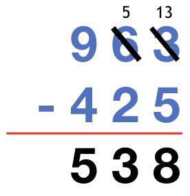963 - 425 = 538