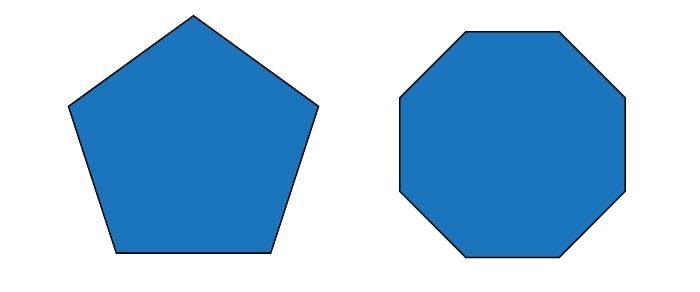a pentagon and an octagon