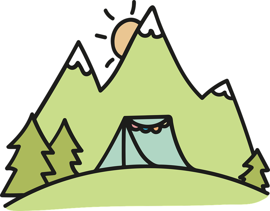 A camping tent near the mountains.