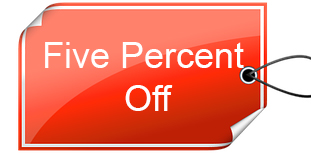 five percent off tag