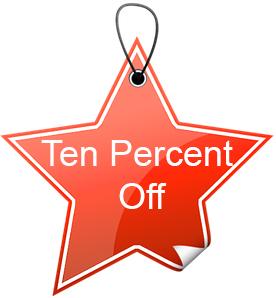 ten percent off tag