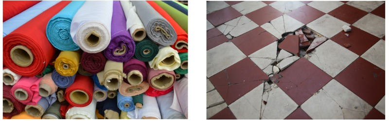 fabric and tiles