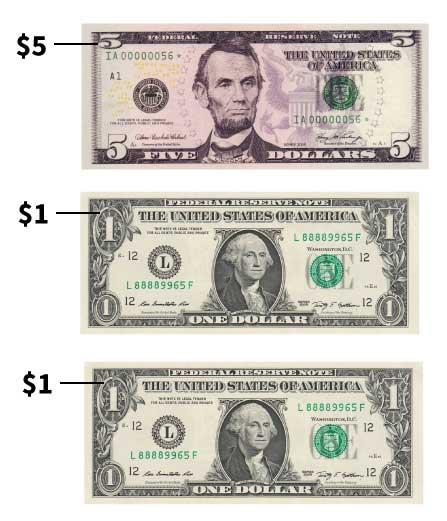 $5 bill and 2 $1 bills