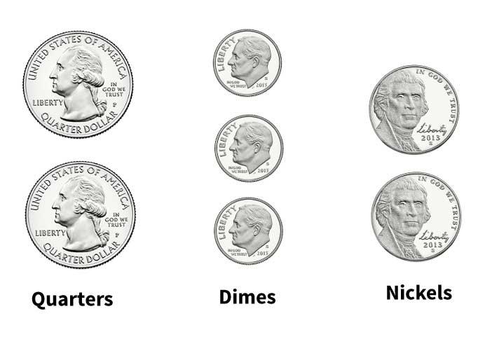 quarters, dimes, nickels