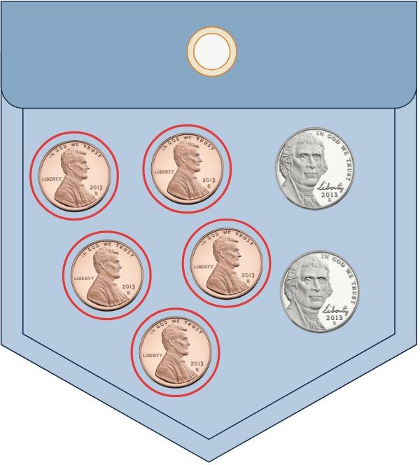pocket full of coins