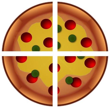 pizza cut into 4 slices