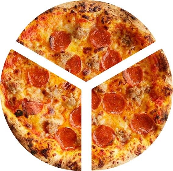 pizza cut into 3 slices