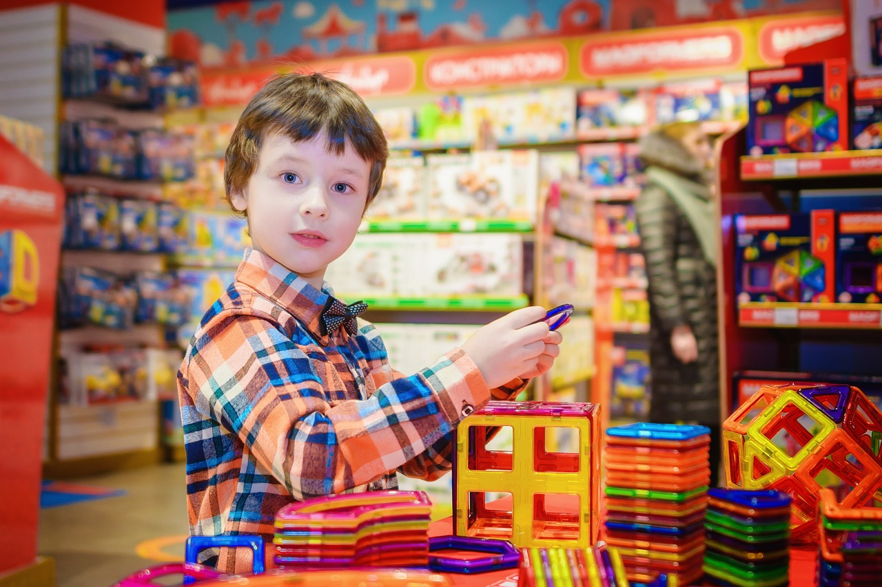 boy in a toy store