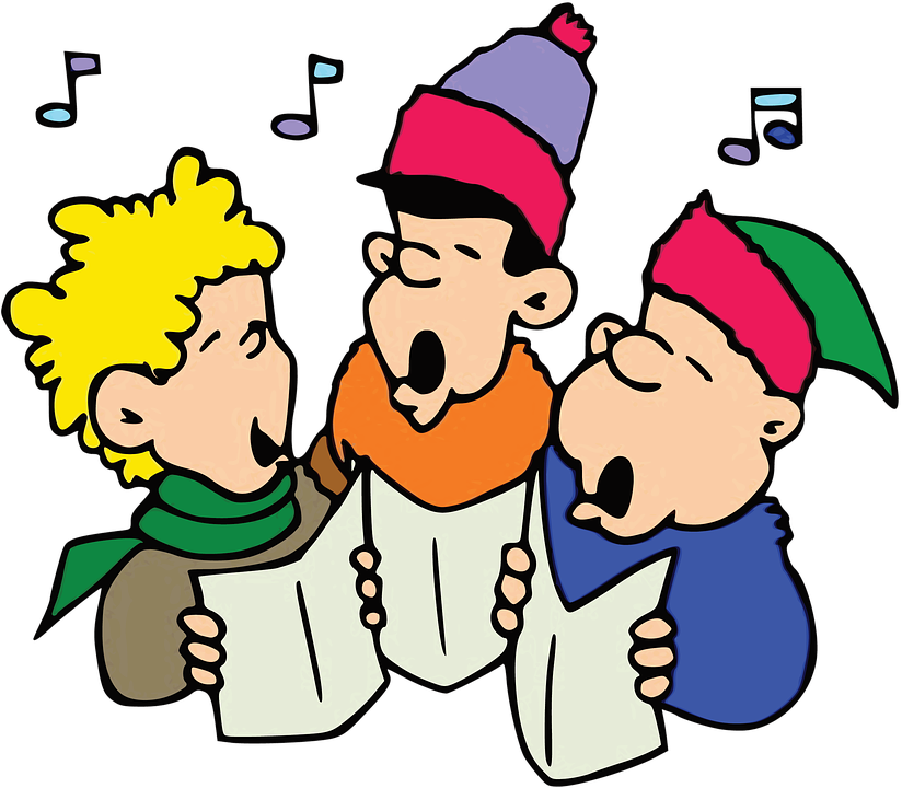 Three boys are practicing singing for their concert.