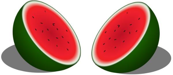 Two watermelon halves