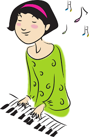 A girl is playing the piano.