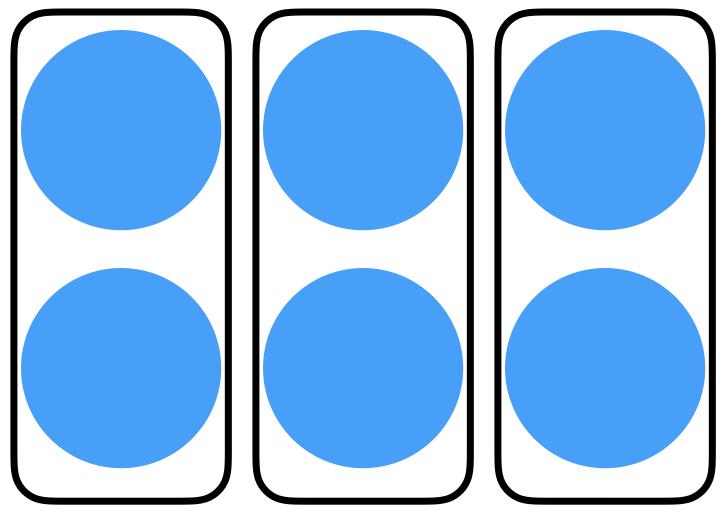 3 groups of 2 circles