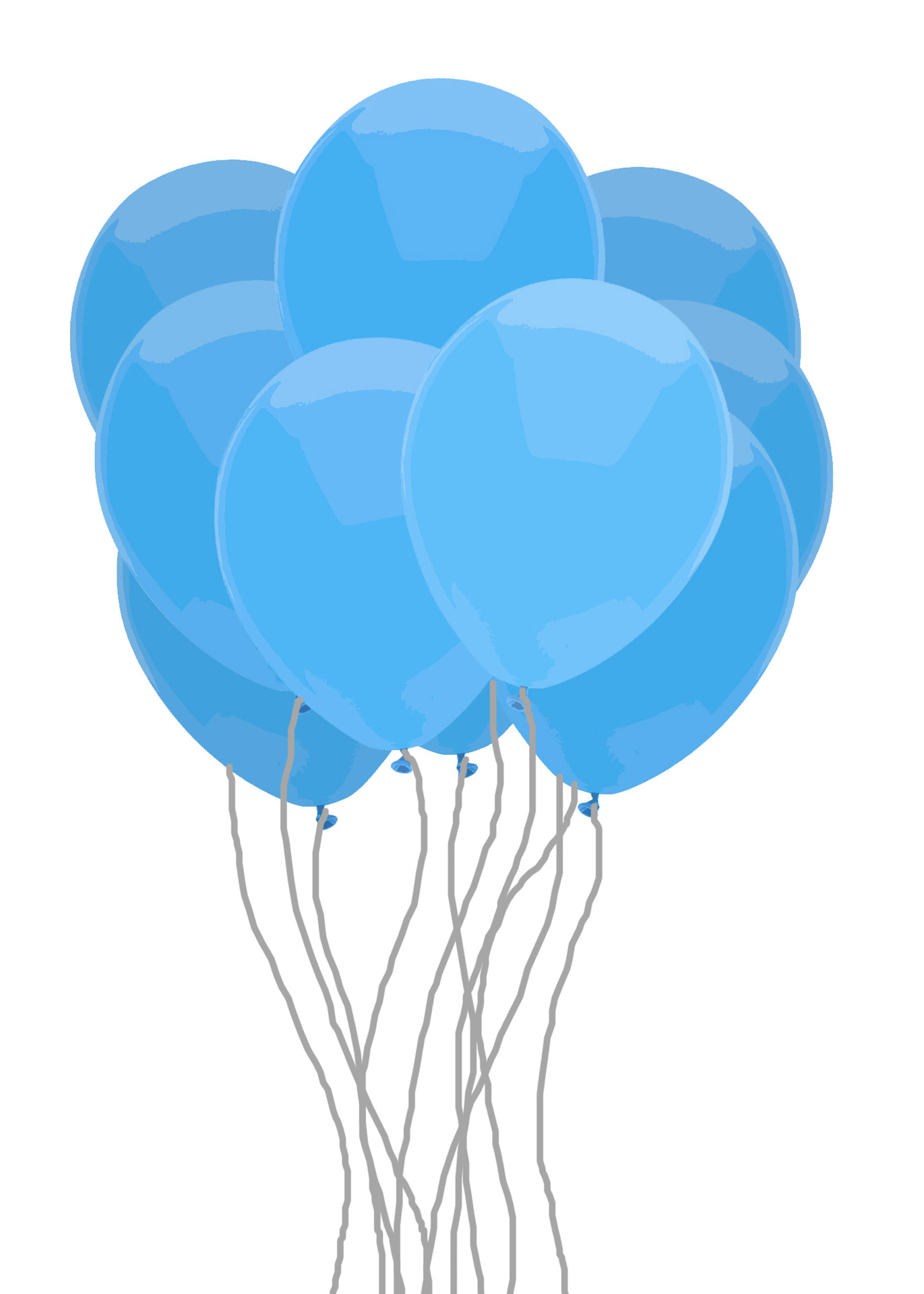 A group of blue balloons.