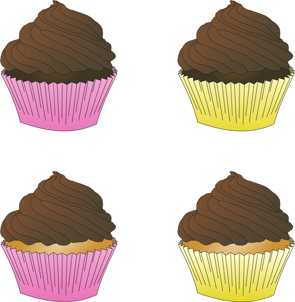 Four cupcakes with chocolate frosting.