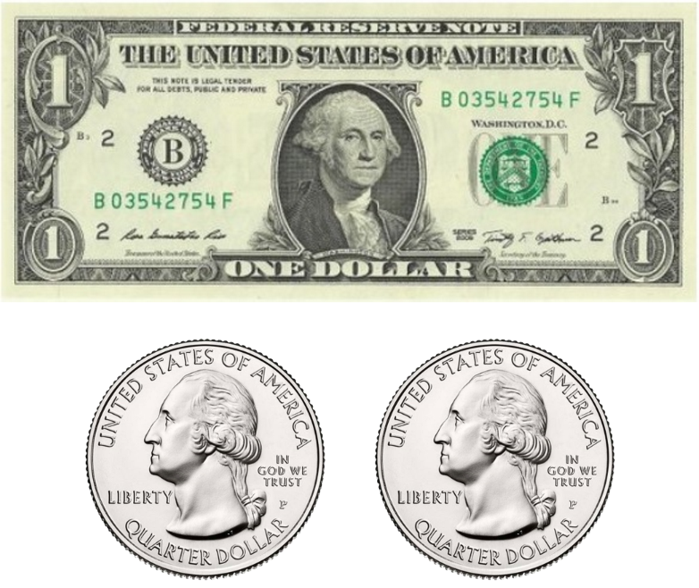 One dollar bill and two quarters.