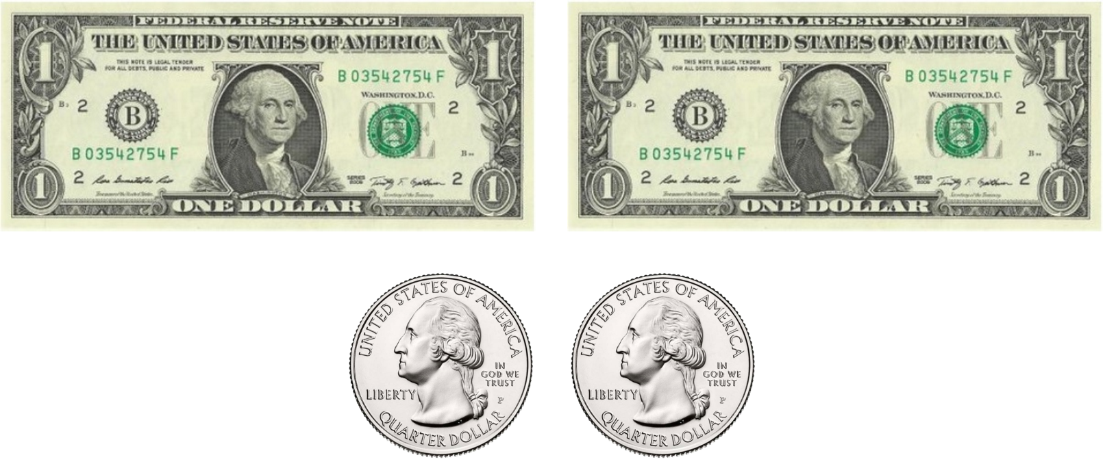 Two one dollar bills and two quarters.