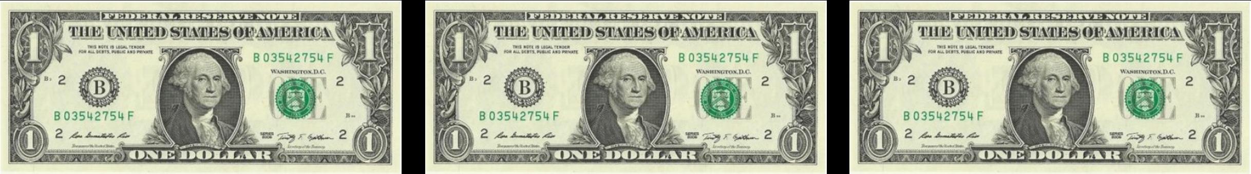 3 1 dollar bills